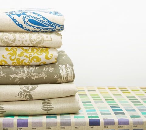 fabric pile with paintbox collection design by Nikki Szabo
