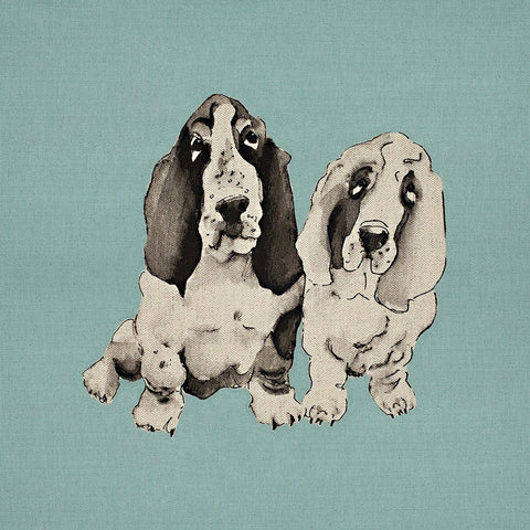 Fabric Cushion Panel - Barney & Biscuit - Basset Hound Cushion Panel
