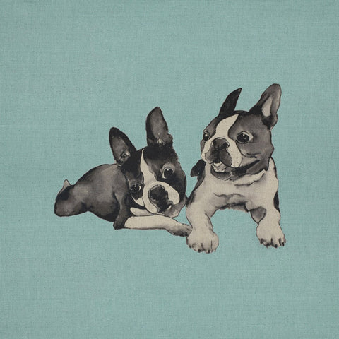 Fabric Cushion Panel - Freddy & Dylan - Boston Terriers Fabric Cushion Panel