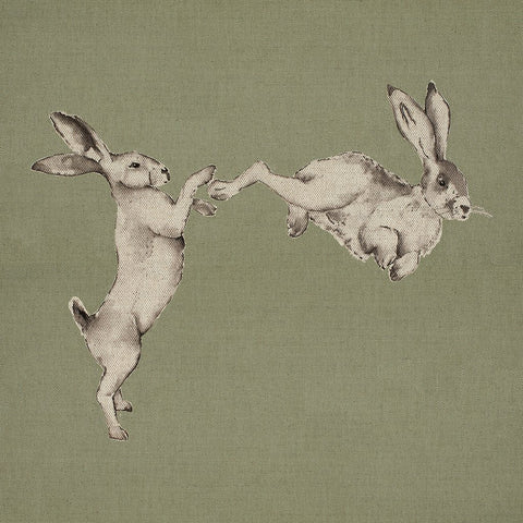 Fabric Cushion Panel - Lucy & Lex - Boxing Hares Fabric Cushion Panel