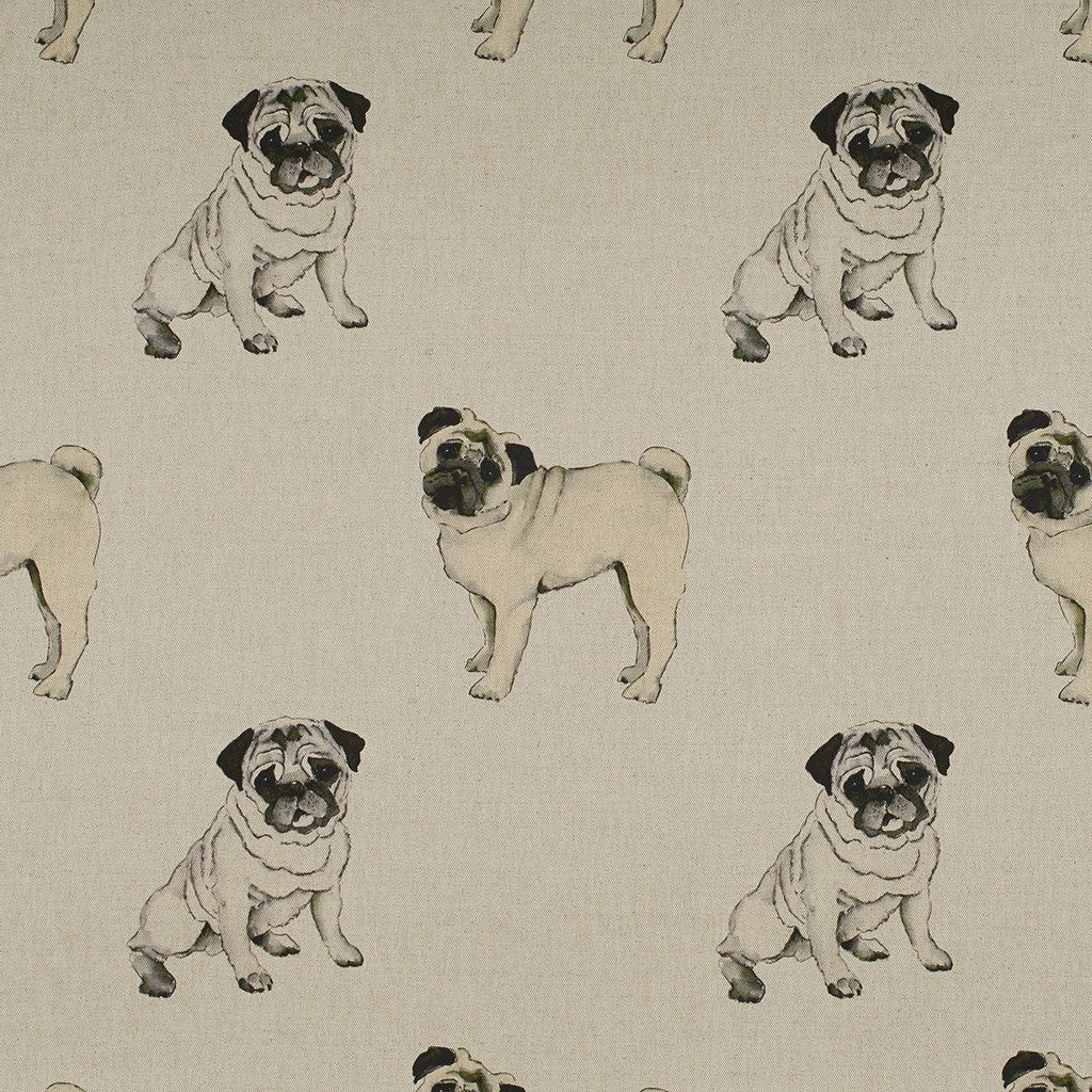 Fabric - Tatty Pug - Man's Best Friend Fabric