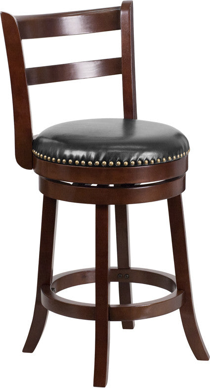 Cappuccino Wood Stool w/Black Leather Swivel Seat - Man Cave Boutique