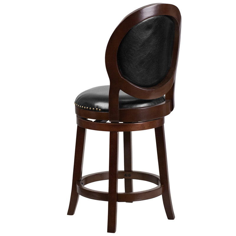 Cappuccino Wood Barstool w/Black Leather Swivel Seat - Man Cave Boutique