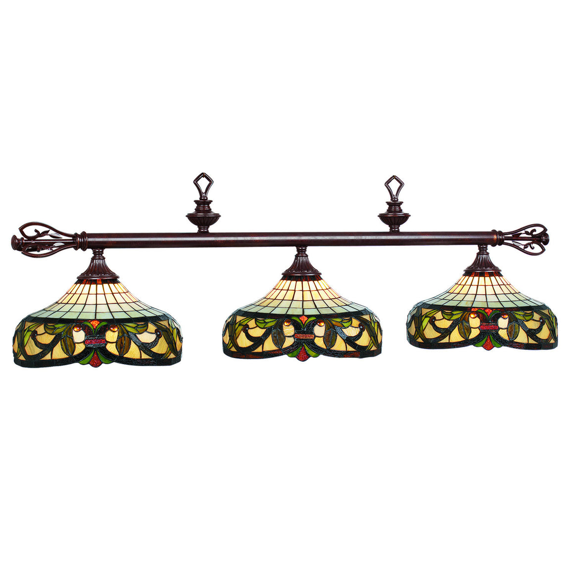 Billiards Lighting_Harmony Stained Glass 3-Light Fixture - Man Cave Boutique
