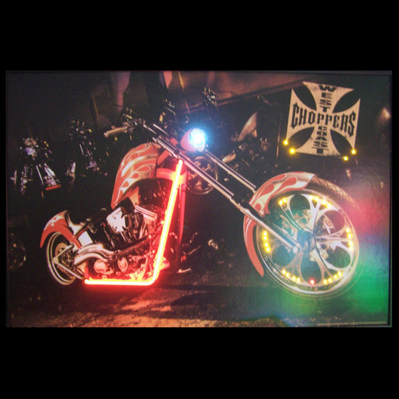 West Coast Choppers Bike Neon/LED Picture - Man Cave Boutique