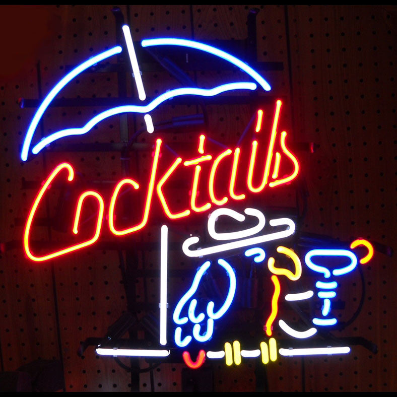 Cocktails and Parrot Neon Sign - Man Cave Boutique