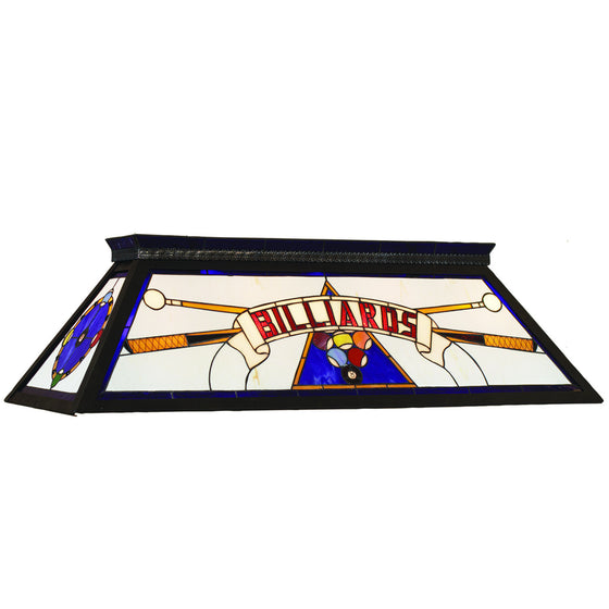 Billiards Lighting_Knockdown Stained Glass 4-Light fixture_Blue - Man Cave Boutique