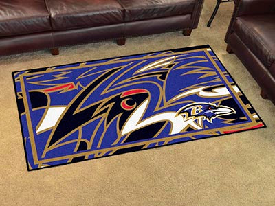 Rug 4x6 Baltimore Ravens NFL New Design - Man Cave Boutique