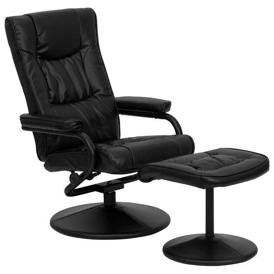 Contemporary Black Leather Recliner & Ottoman w/ Leather Wrapped Bases - Man Cave Boutique
