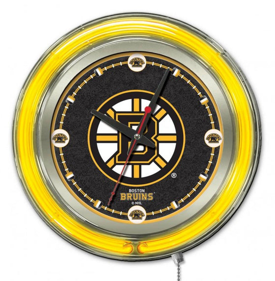 "15"" Neon Boston Bruins ® Logo Clock - Man Cave Boutique"