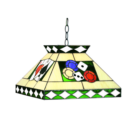 "Billiards & Poker Stained Glass Pendant Light 18""x14"" - Man Cave Boutique"