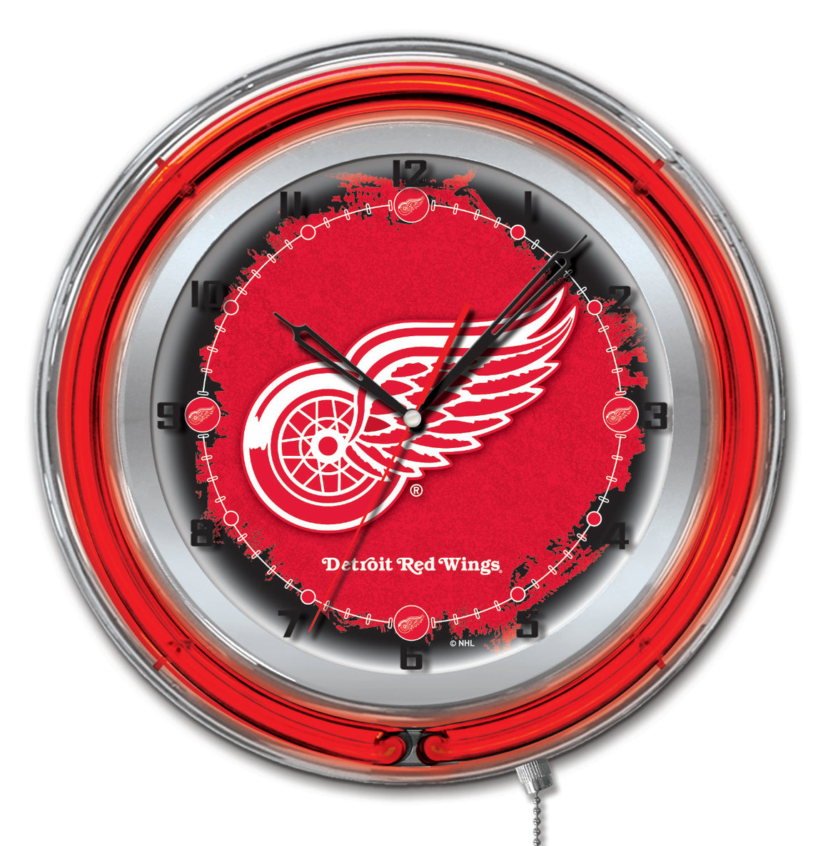 "19"" Detroit Red Wings NHL Neon Wall Clock - Man Cave Boutique"
