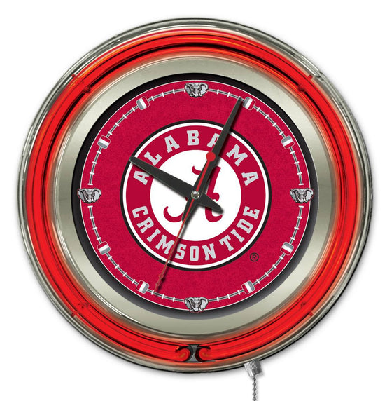 "15"" Alabama Crimson Tide Logo Neon-Accented Clock - Man Cave Boutique"