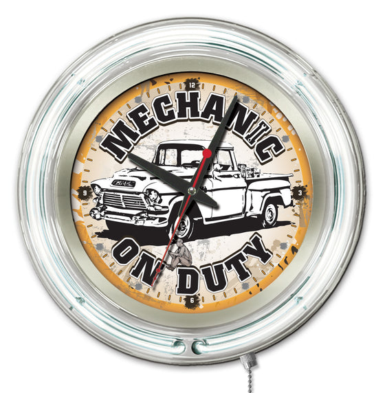 "15"" Mechanic on Duty Neon Clock - Man Cave Boutique"