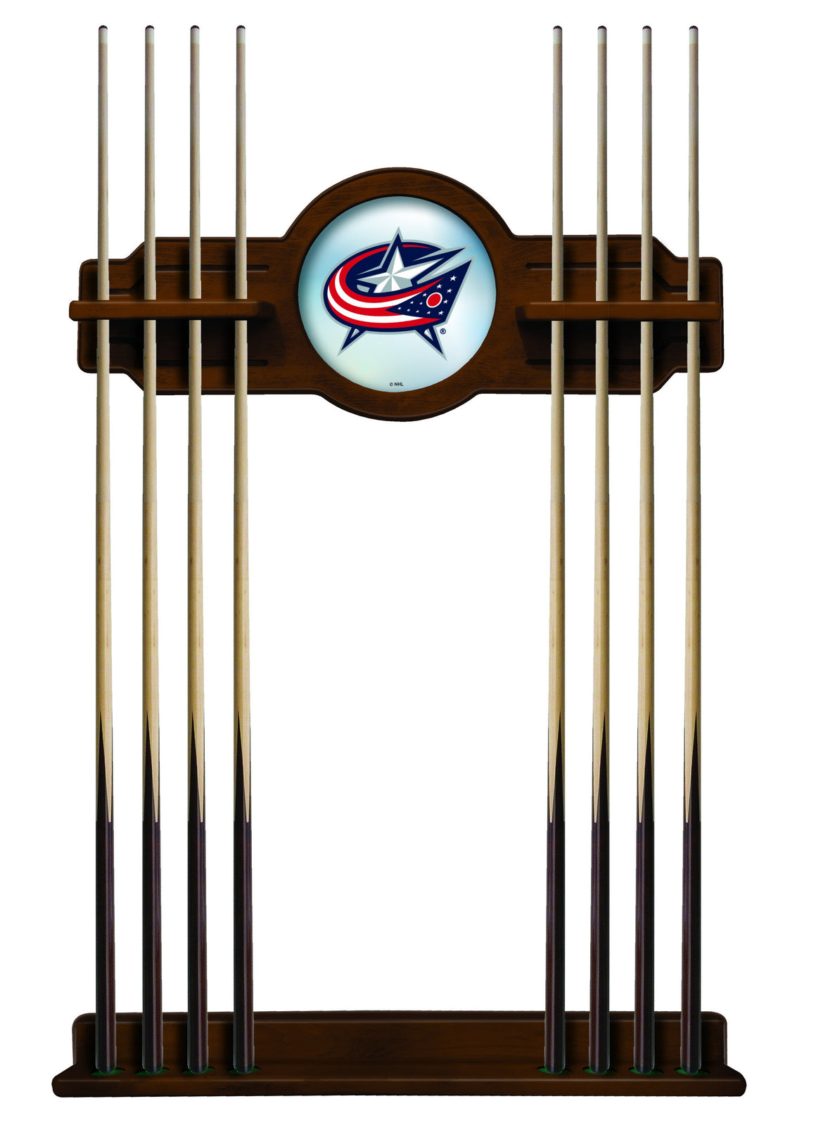 Columbus Blue Jackets NHL Logo 8' Logo Pool Table with Bonus Cue Rack - Man Cave Boutique