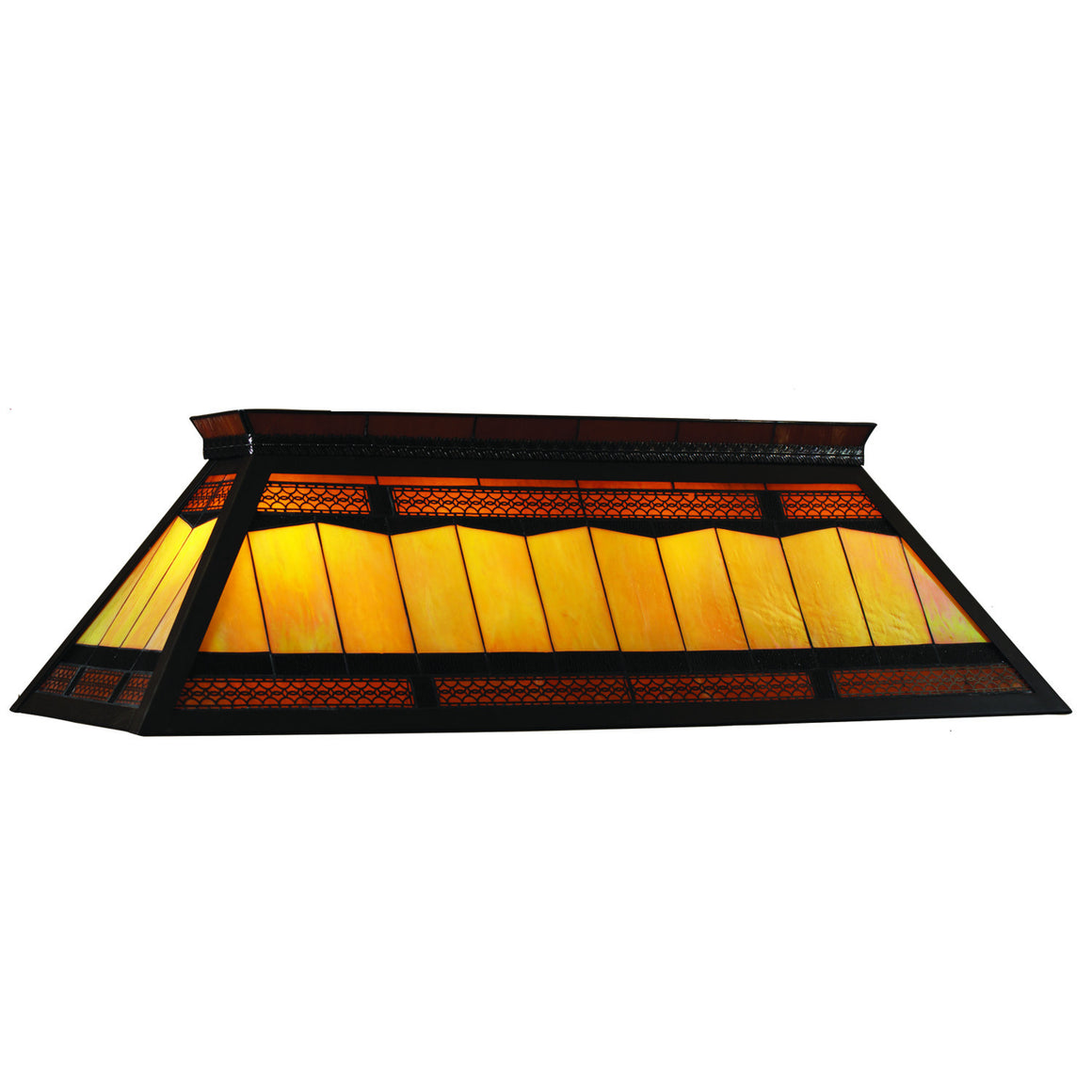 Billiards Lighting_Knockdown Stained Glass 4-Light Fixture_Filigree Finish - Man Cave Boutique