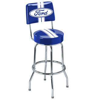 Ford Stripes Bar Stool with Backrest - Man Cave Boutique