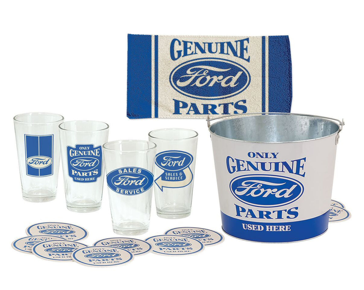 Ford 18-Piece Pint Glass Bucket Set - Man Cave Boutique