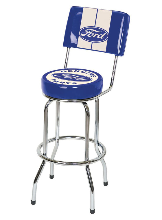 Ford Genuine Parts Bar Stool w/Backrest - Man Cave Boutique