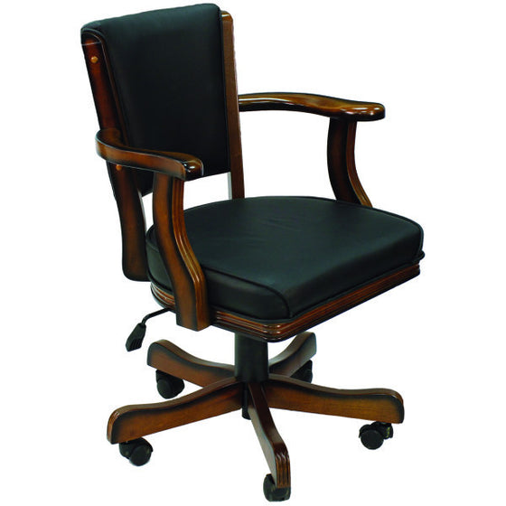 Swivel Game Chair Chestnut Finish - Man Cave Boutique