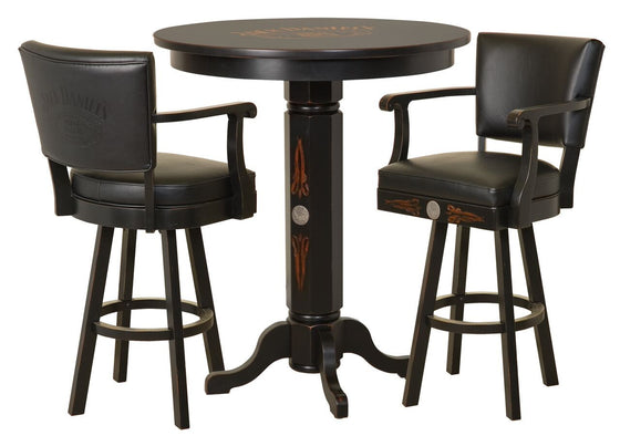 Jack Daniel's® Pub Table & 2 Backrest Bar Stools Set - TN Charcoal - Man Cave Boutique