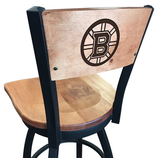 Boston Bruins NHL Logo Engraved Wood Bar Stool - Man Cave Boutique