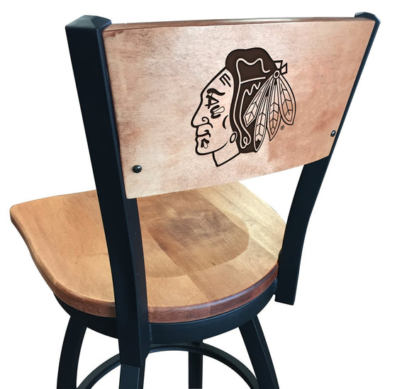 Chicago Blackhawks NHL Logo Engraved Wood Bar Stool - Man Cave Boutique