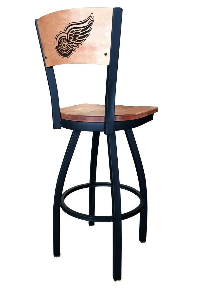 Detroit Redwings NHL Logo Laser Engraved Maple Wood Bar Stool - Man Cave Boutique