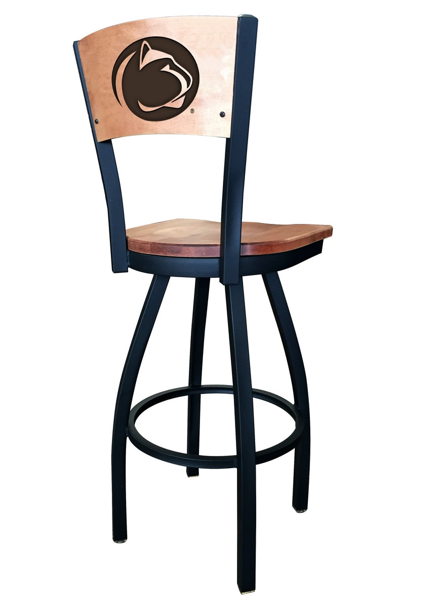 Penn State Logo Engraved Wood Bar Stool - Man Cave Boutique