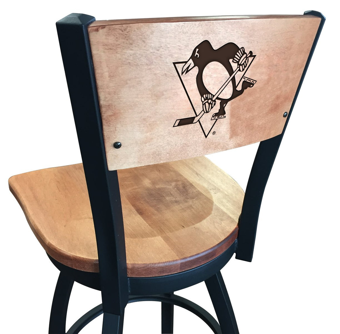 Pittsburgh Penguins NHL Logo Laser Engraved Maple Wood Bar Stool - Man Cave Boutique