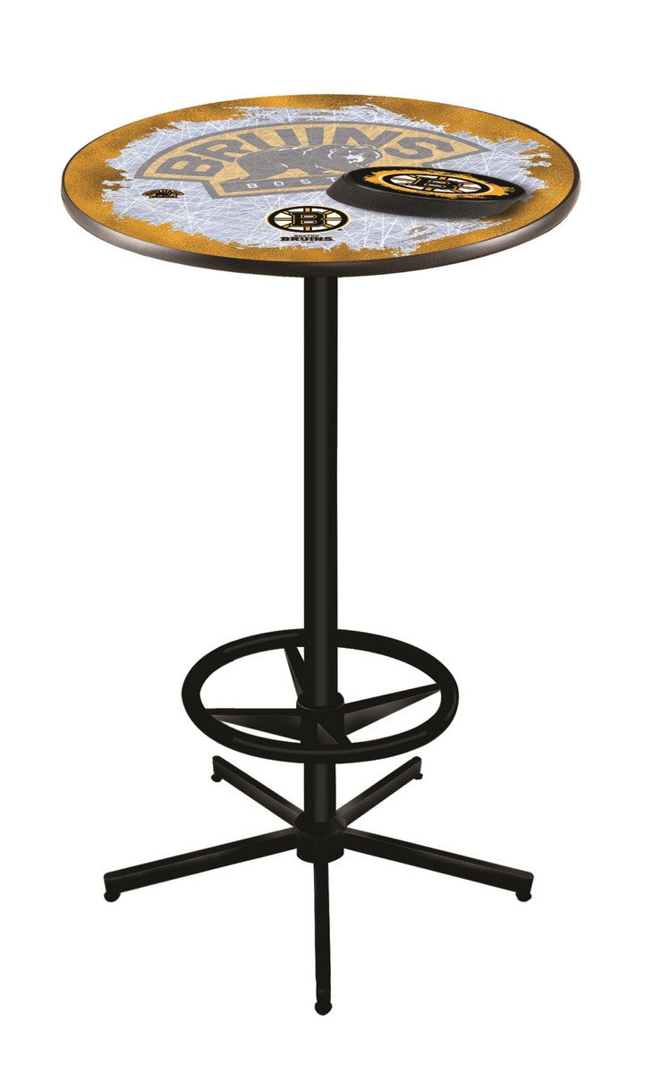 Boston Bruins NHL Logo Pub Table - Black - Man Cave Boutique