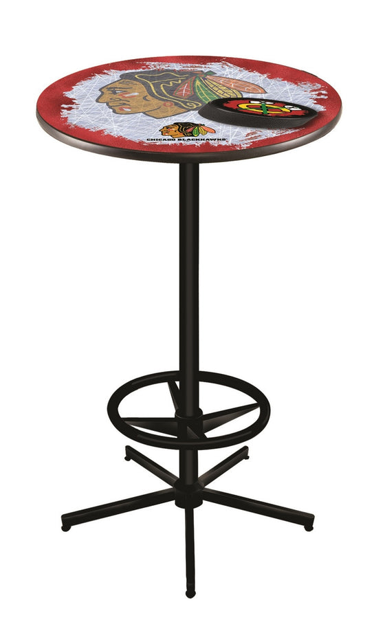 Chicago Blackhawks Pub Table - L216 Black Design 2 - Man Cave Boutique