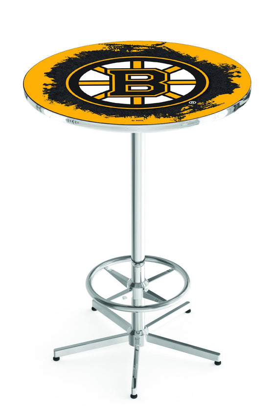 "Boston Bruins NHL Logo Pub Table - Chrome Base 42""H - Man Cave Boutique"