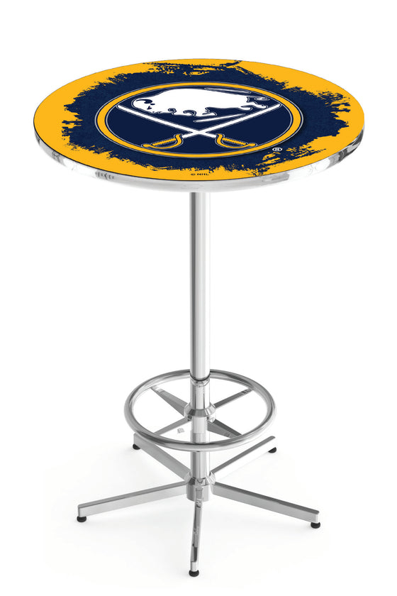 "Buffalo Sabres NHL Logo Pub Table - Chrome Base 42""H - Man Cave Boutique"