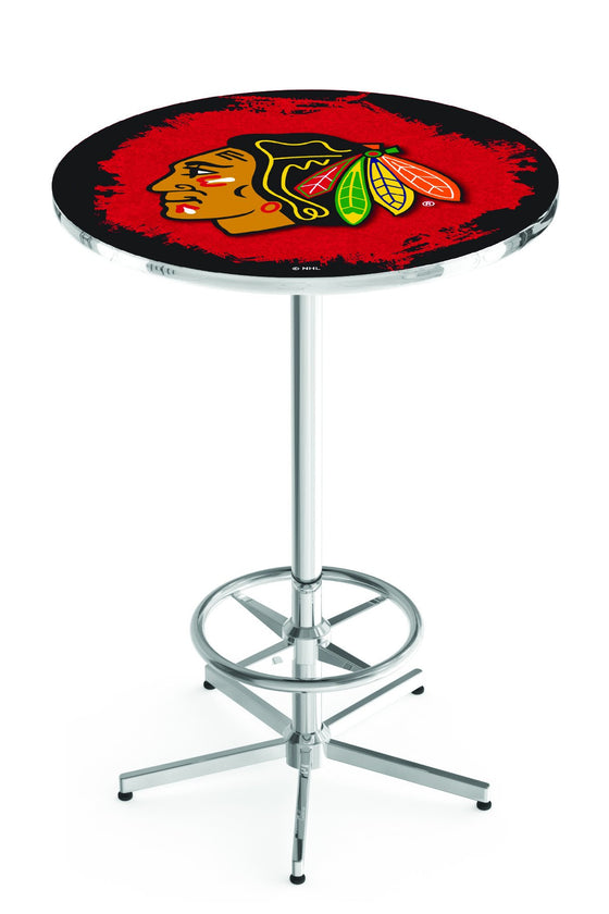 "Chicago Blackhawks NHL Pub Table - Chrome Base 42""H - Man Cave Boutique"