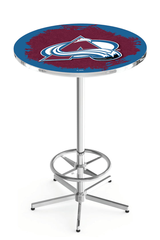 "Colorado Avalanche NHL Logo Pub table - Chrome Base 42""H - Man Cave Boutique"