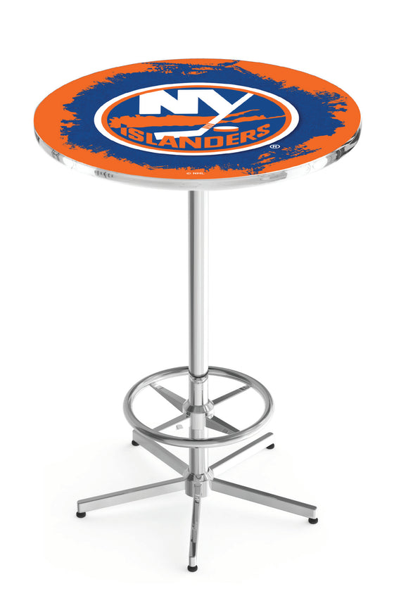 "New York Islanders NHL Logo Pub Table - Chrome Base 42""H - Man Cave Boutique"