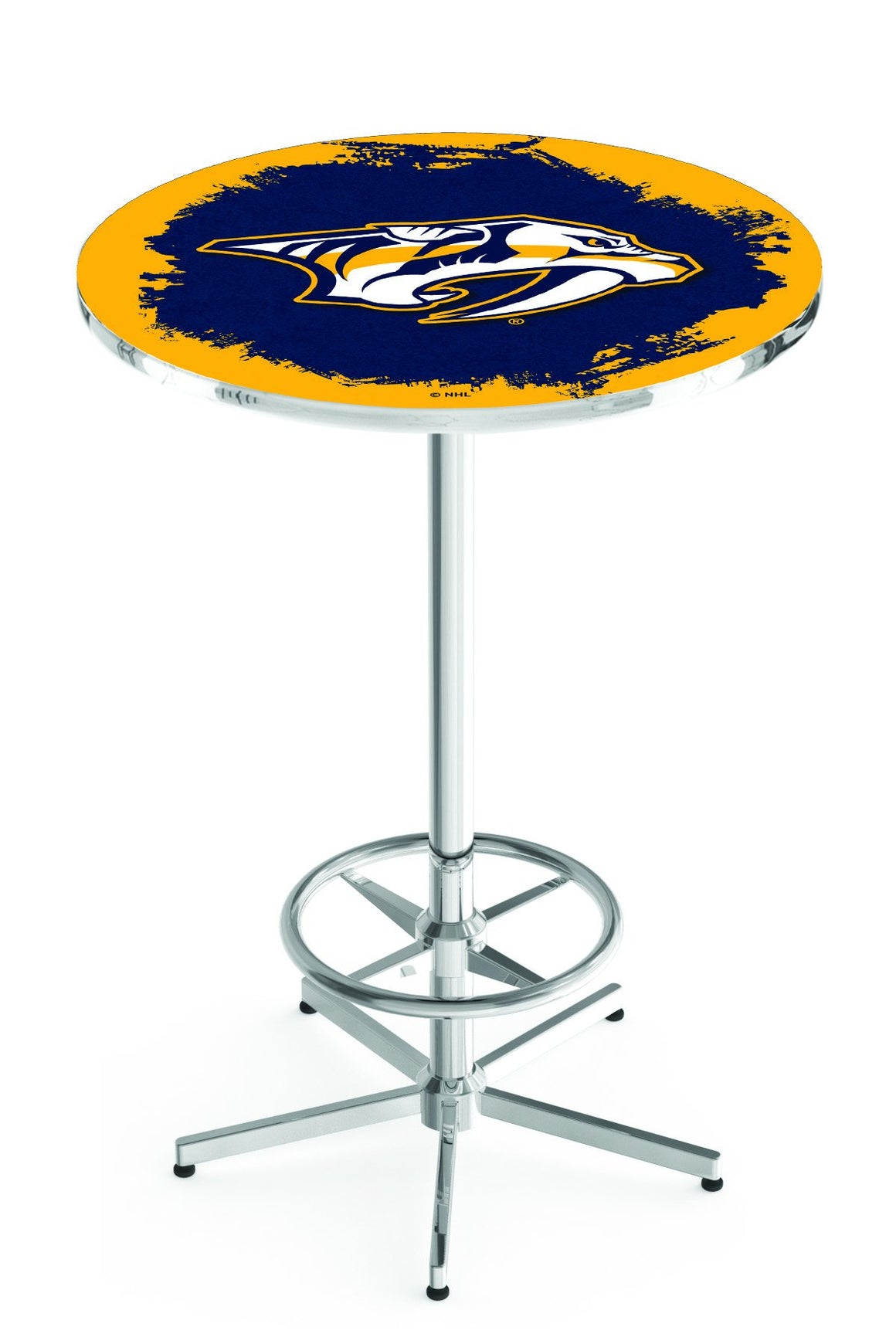 "Nashville Predators NHL Logo Pub Table - Chrome Base 42""H - Man Cave Boutique"