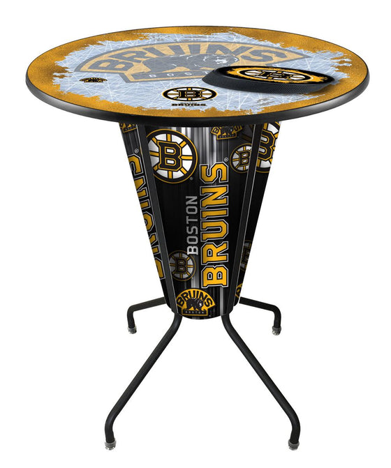 Boston Bruins NHL Lighted LED Logo Pub Table - Man Cave Boutique