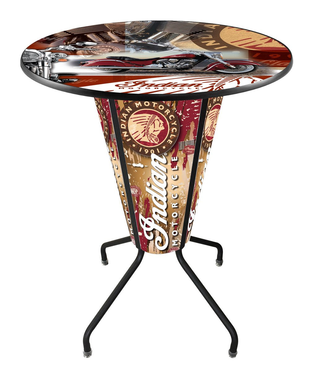 Indian Motorcycle Lighted Logo Pub Table L218 - Man Cave Boutique