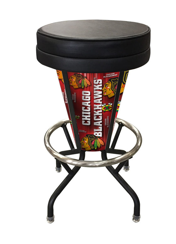 Chicago Blackhawks NHL Logo Lighted LED Bar Stool L5000 - Man Cave Boutique