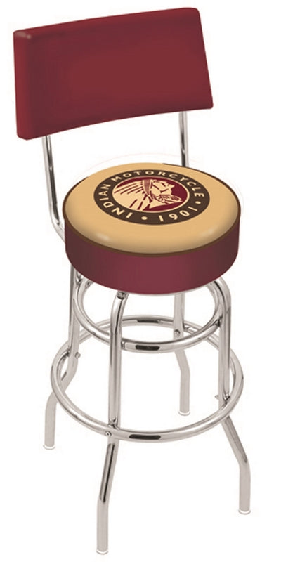 Indian Motorcycle Logo Bar Stool w/Seat Back - Man Cave Boutique
