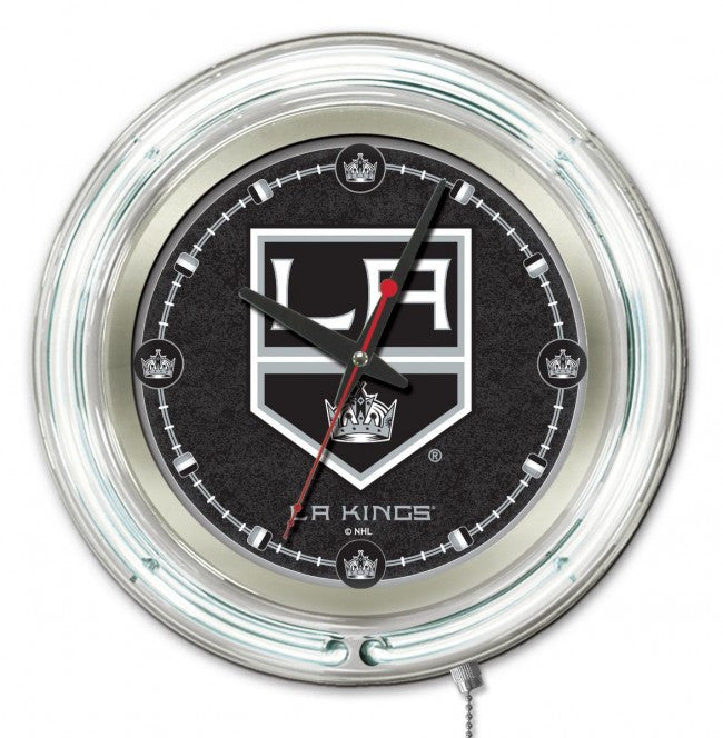 "15"" Los Angeles Kings ® Logo Neon-Accented Clock - Man Cave Boutique"