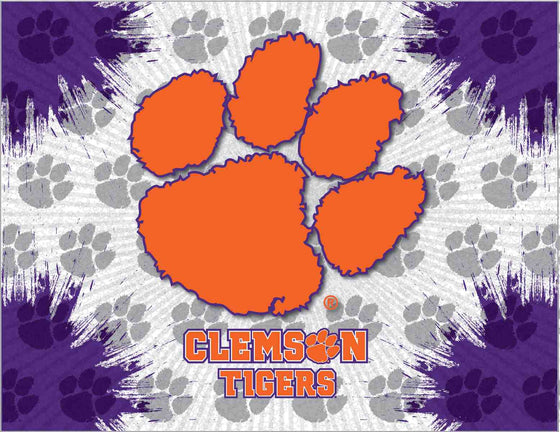 "Clemson 24"" x 32"" Logo Printed Canvas Art - Man Cave Boutique"