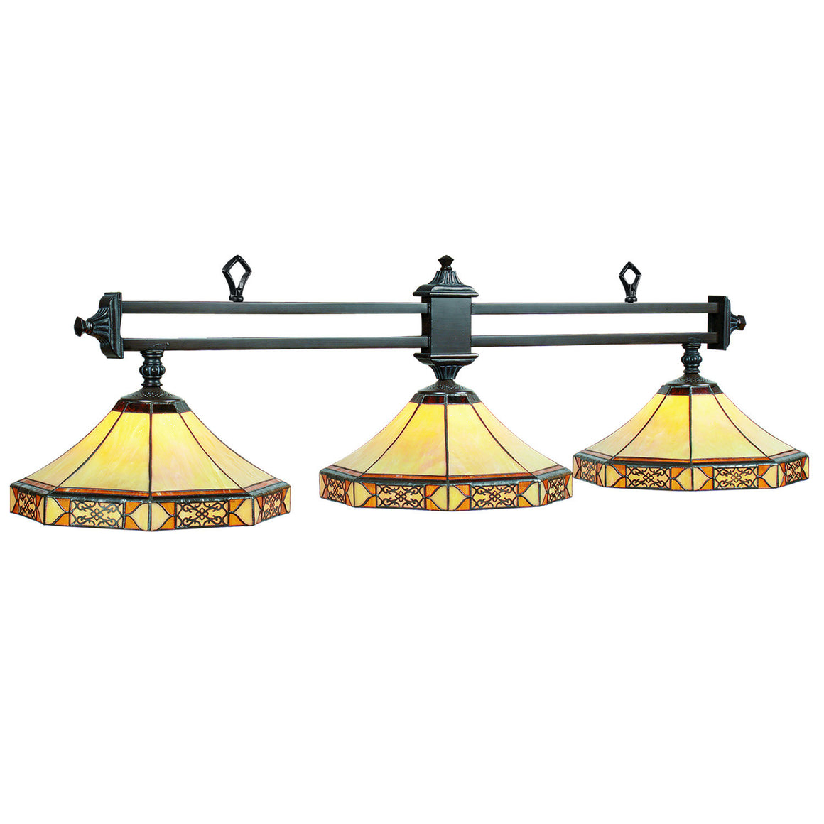 Mission Filigree Stained Glass 3-Light Fixture - Man Cave Boutique