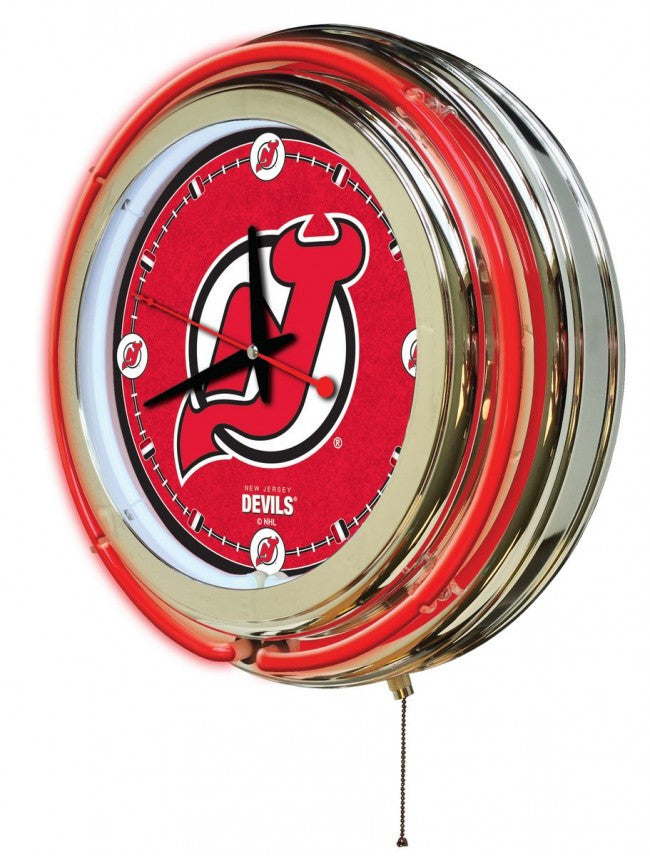 "15"" New Jersey Devils ® Logo Clock - Man Cave Boutique"