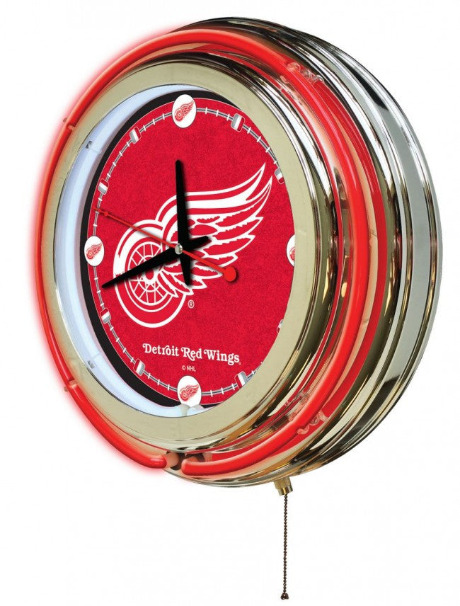 "15"" Detroit Red Wings ® Logo Neon-Accented Clock - Man Cave Boutique"