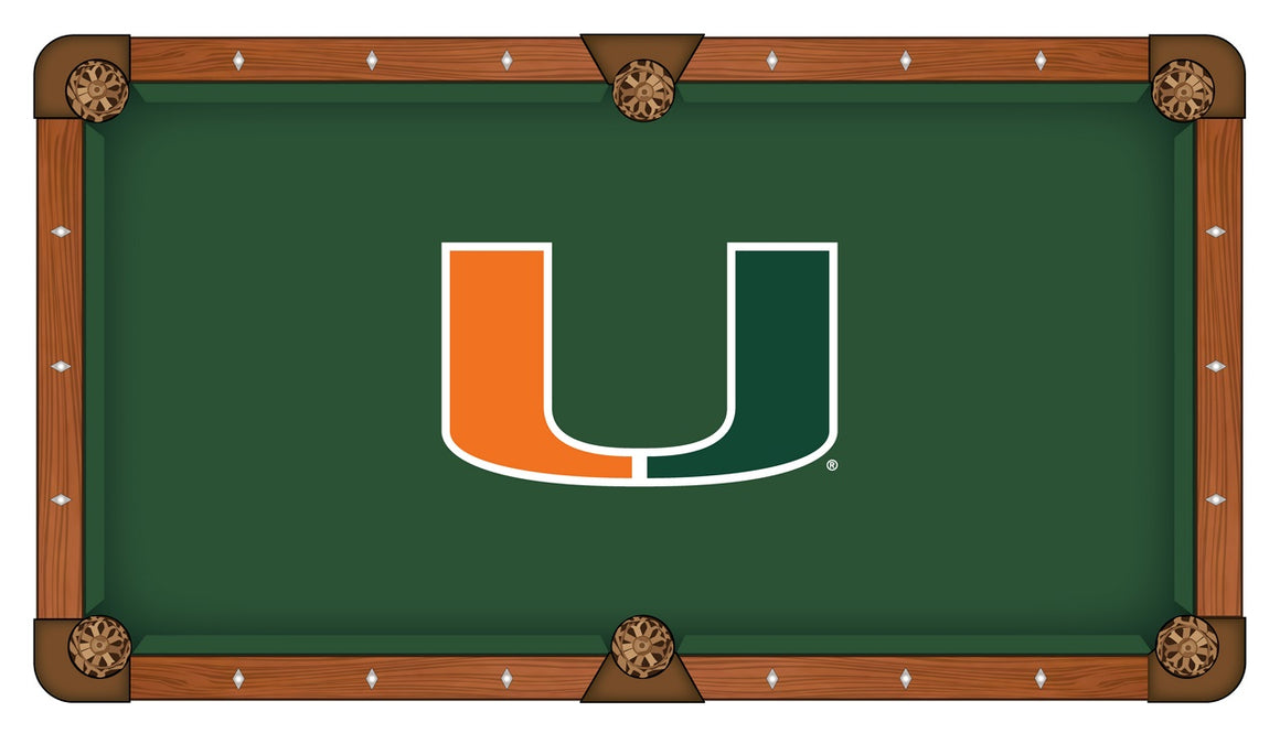 University of Miami Logo 8' Pool Table with Bonus Cue Rack - Man Cave Boutique