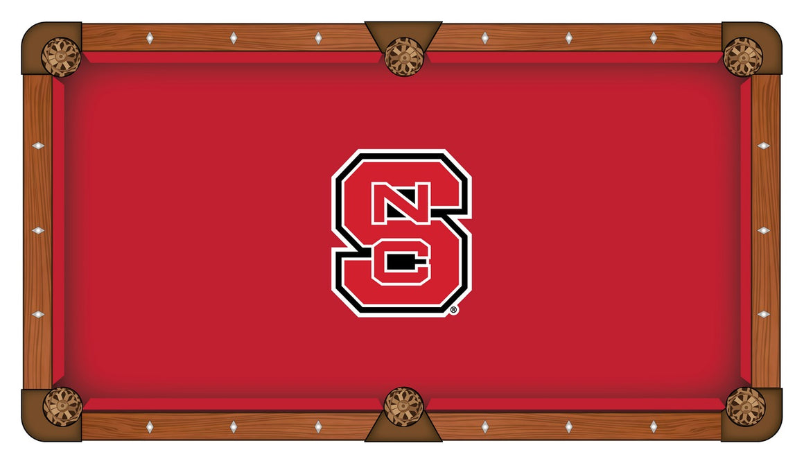 NC State University logo 8' Logo Pool Table with Bonus Cue Rack - Man Cave Boutique