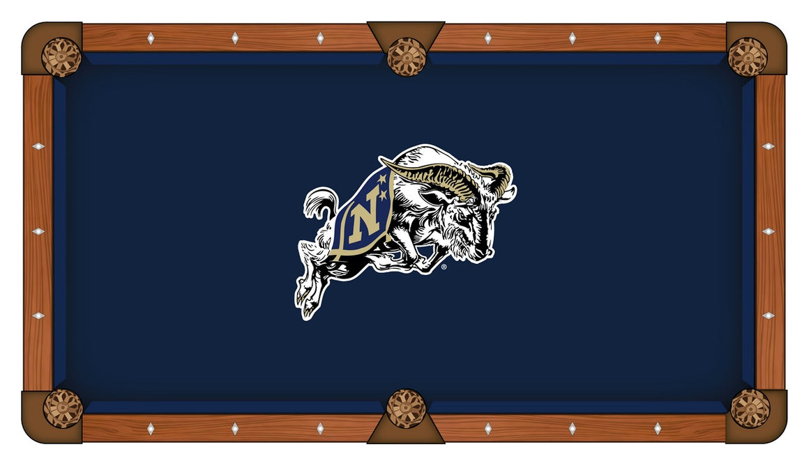 Navy US Naval Academy Logo 8' Pool Table with Bonus Cue Rack - Man Cave Boutique